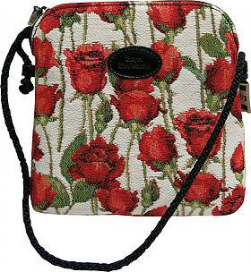 Pochette bandoulière roses rouges