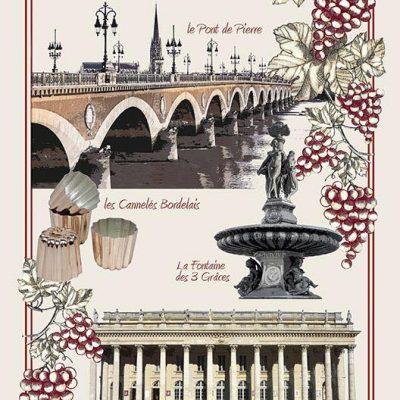 Torchon décoré collection de vins